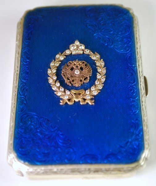 ANTIQUE RUSSIAN STERLING, ENAMEL & DIAMOND COMPACT