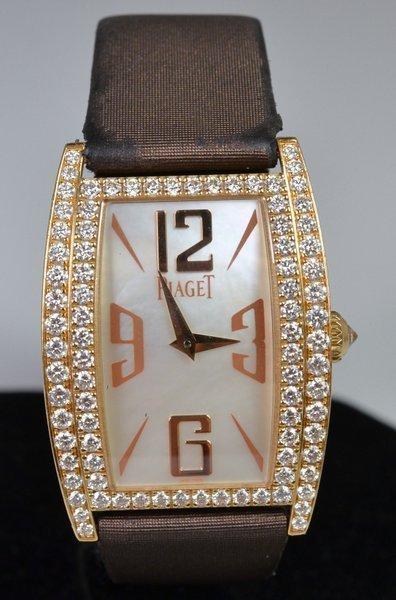 LADIES 18KT P.G. PIAGET DIAMOND WATCH