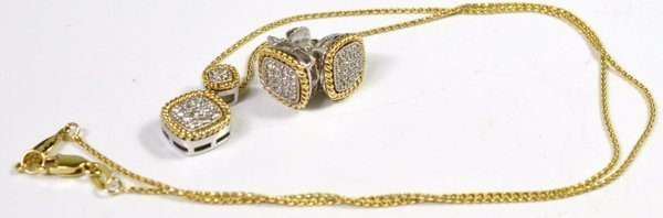 14KT 2 TONE DIAMOND PENDANT AND EARRING SET