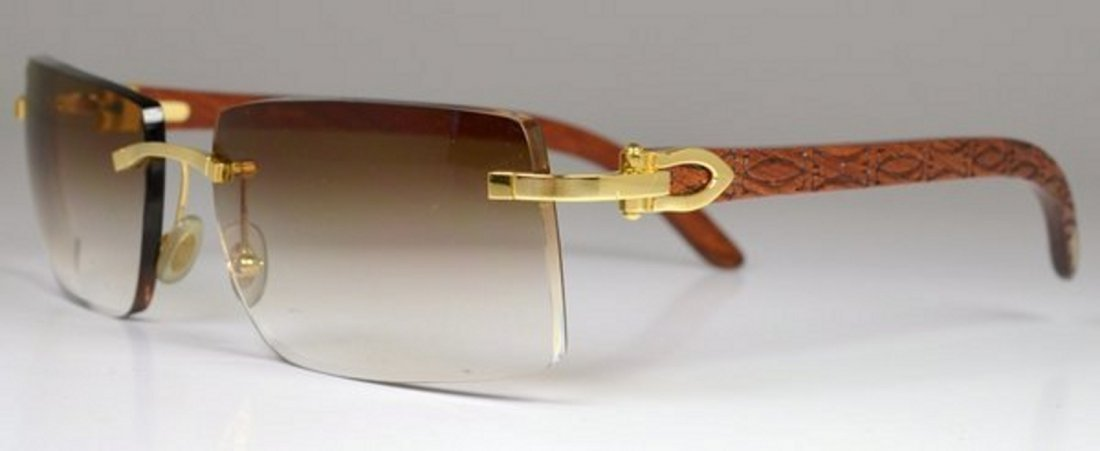 MENS CARTIER BUBINGA WOOD SUNGLASSES