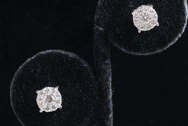 14KT W.G. DIAMOND STUD EARRINGS .80CT