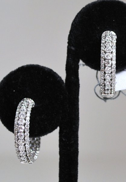 14KT W.G 2.00CT DIAMOND HOOP EARRINGS