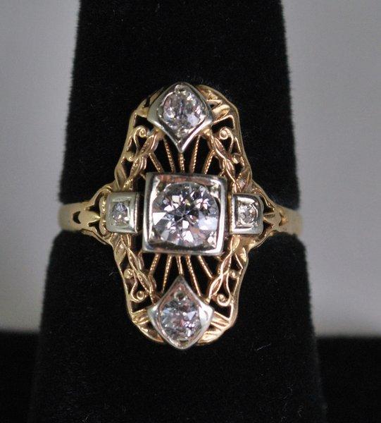 14KT Y.G. ART DECO DIAMOND RING .50CT