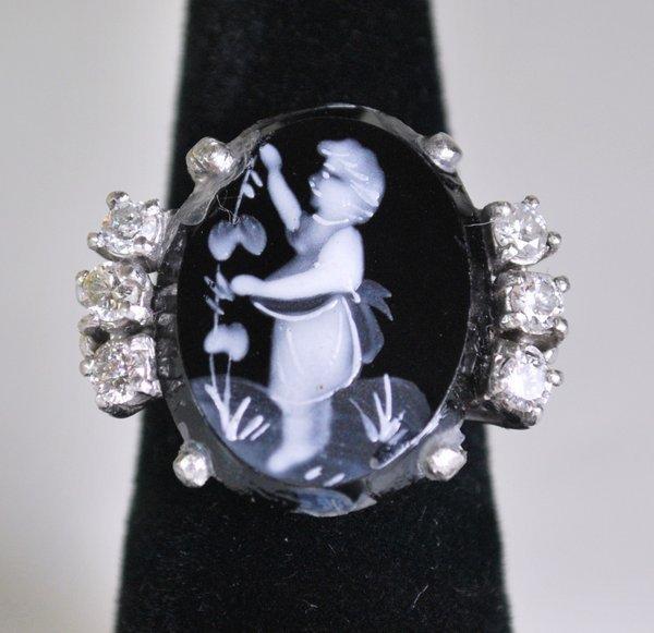 PLATINUM DIAMOND CHERUB RING .60CT