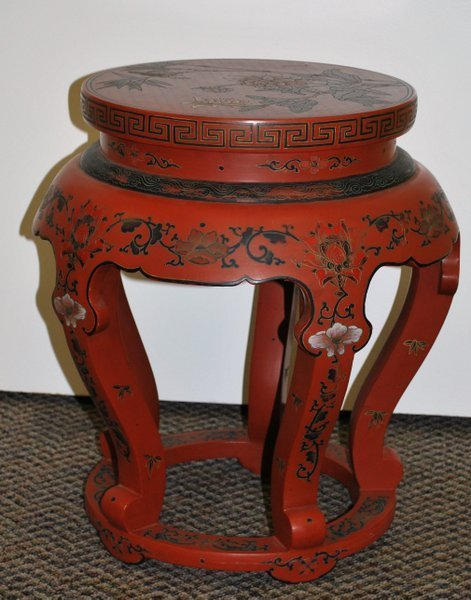 CHINESE RED LAQUERED TABORET TABLE