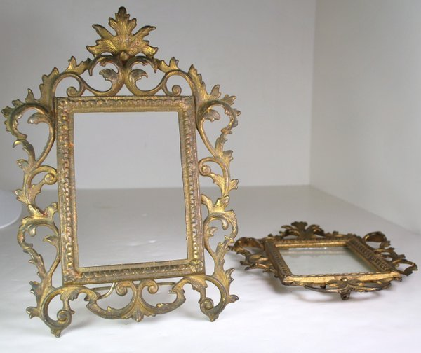 PAIR OF GOLD METAL BAROQUE STYLE MIRROR FRAMES