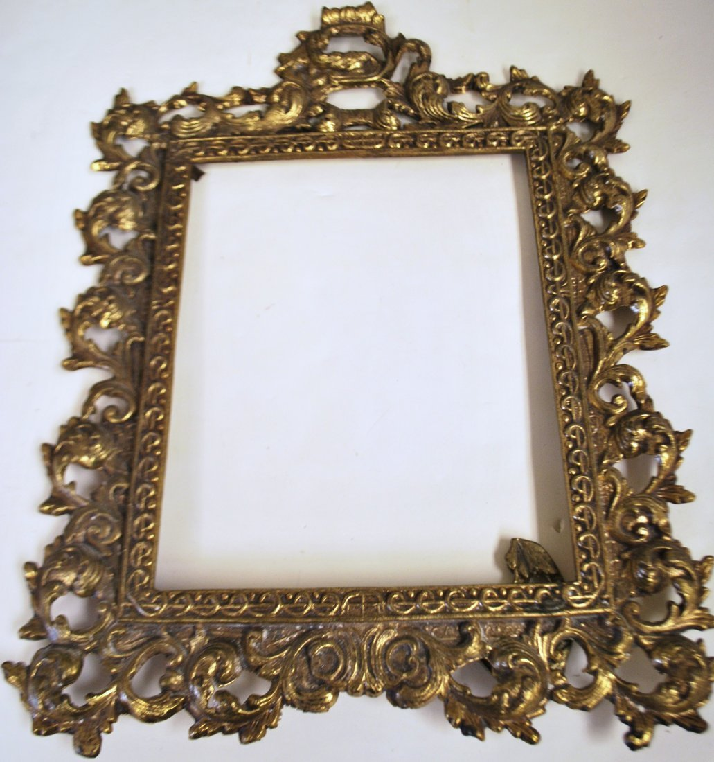 LARGE GOLD TONE BRONZE OVERLAY PICTURE FRAME