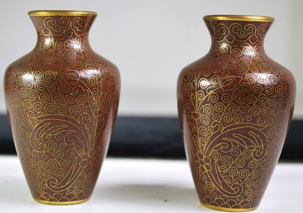 EXTREMELY RARE PAIR MINIATURE CLOISONNE VASES