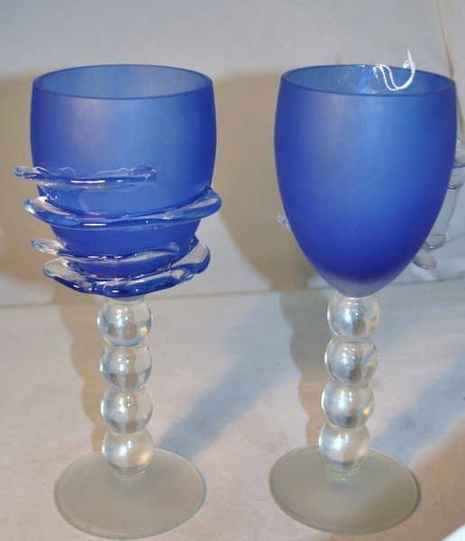 PAIR BLUE GLASS GOBLETS