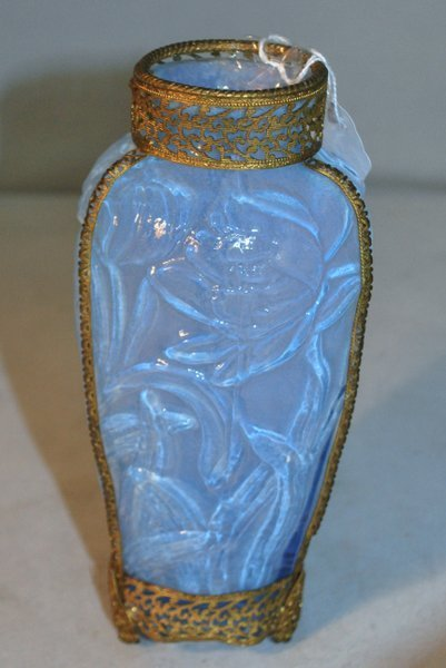 BLUE VASELINE GLASS VASE