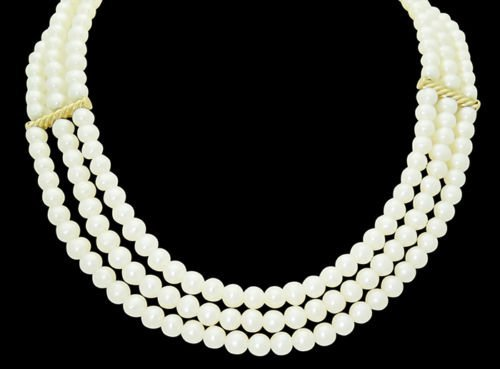 14k Yellow Gold 3 Strand Pearl Necklace with Cable