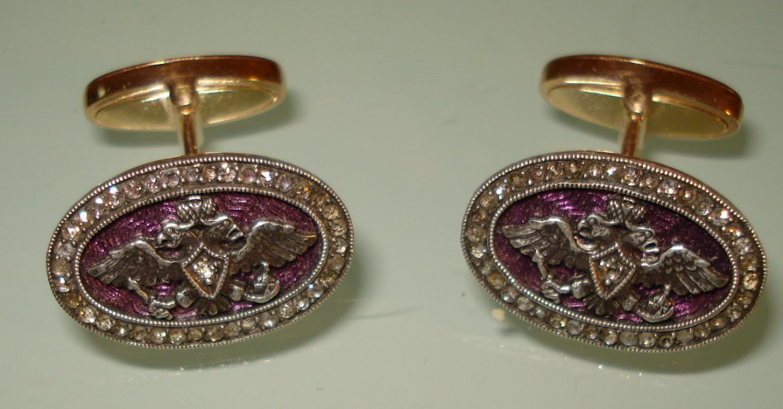 ANTIQUE RUSSIAN GOLD ENAMEL CUFFLINKS WITH DIAMONDS