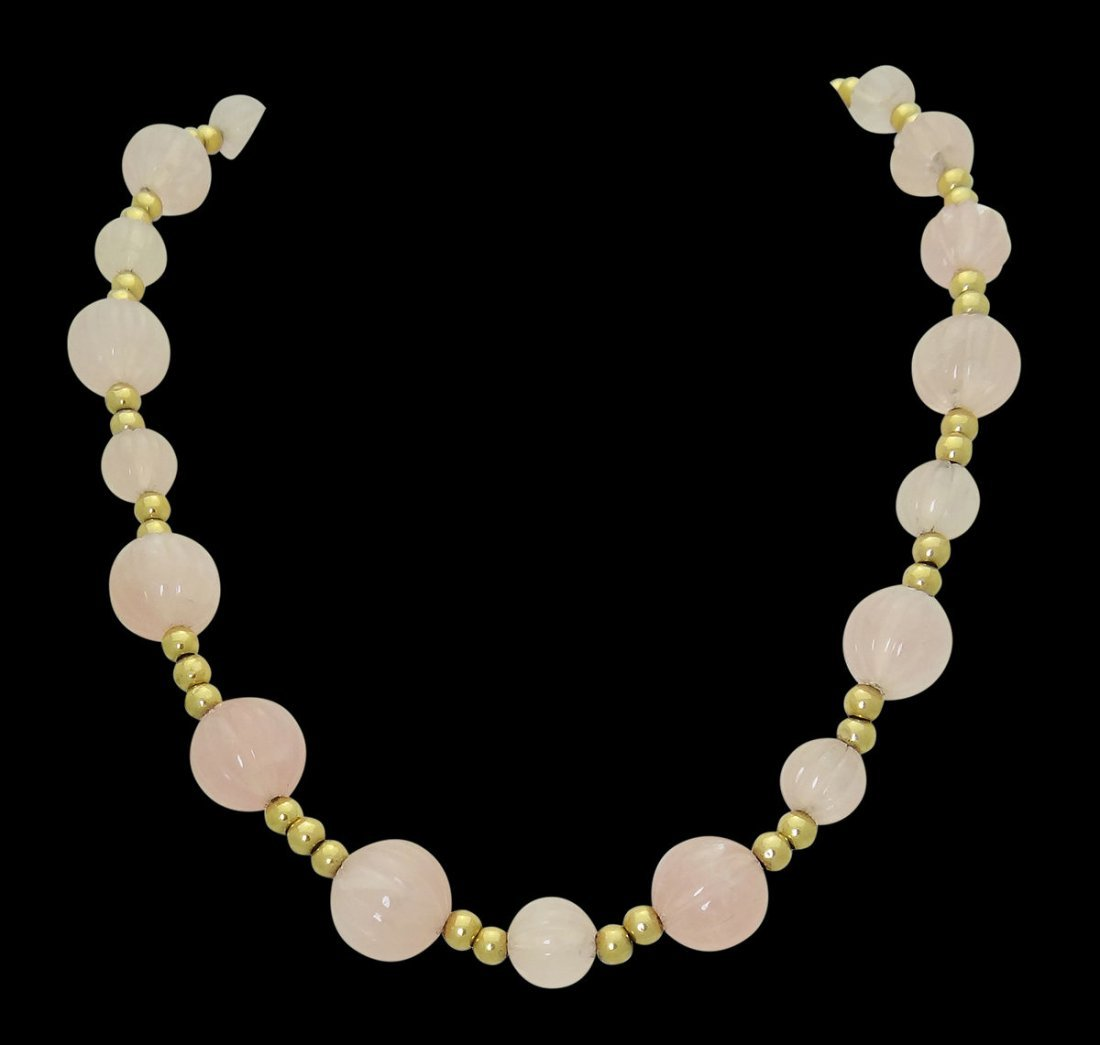 14k Yellow Gold & Rose Quartz Necklace 15 Inches Long