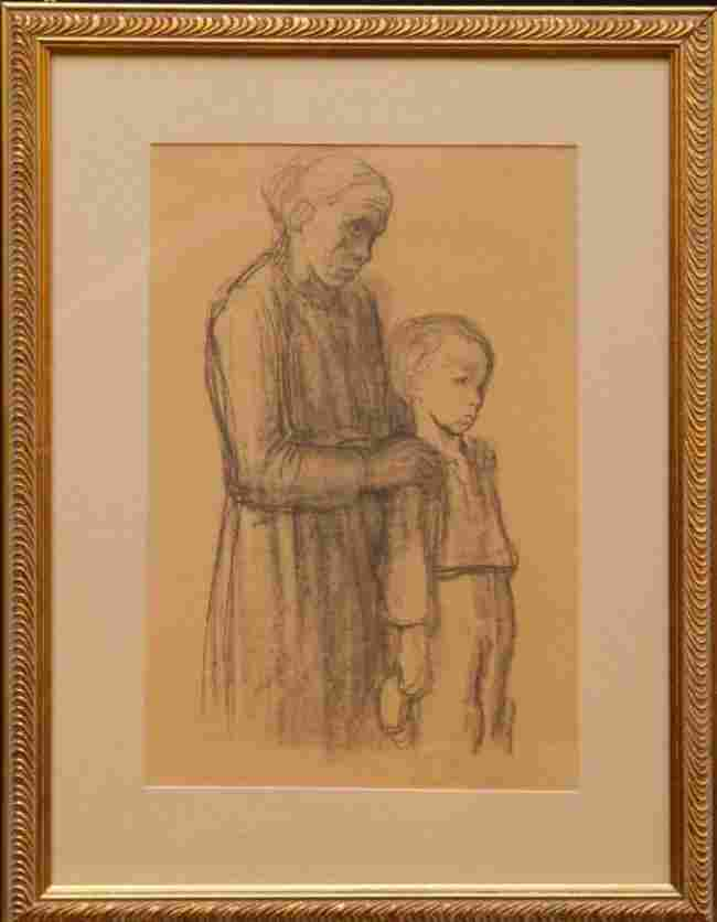 KATHE KOLLWITZ CHARCOAL ON PAPER WOMAN AND CHILD