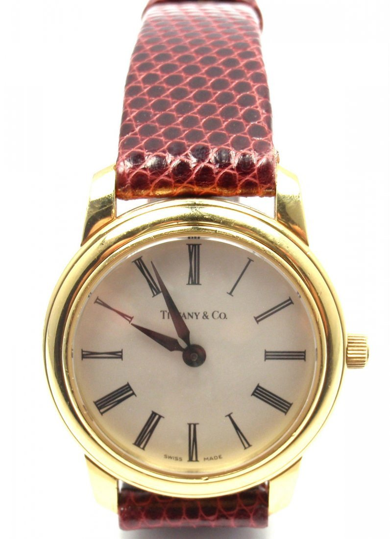 Tiffany & Co 18k Y G Quartz Leather Band Watch