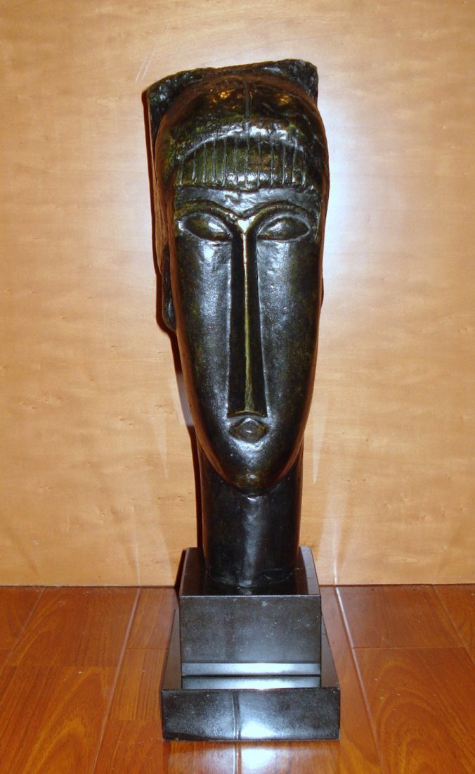 AMEDEO MODIGLIANI Large Italian Bronze Sculpture Tête