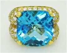 18k Y Gold 2.25 ct VS1-2 F-G Diamond & Large Topaz Ring