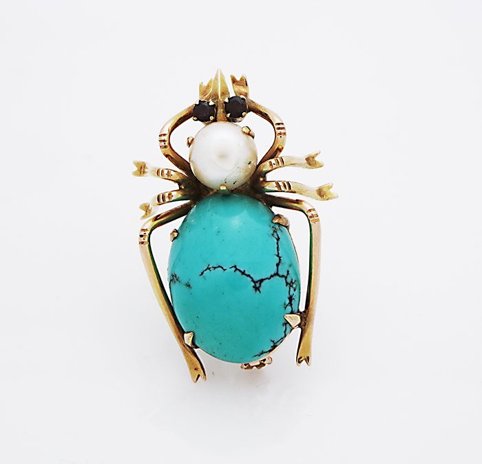 "14K VINTAGE ""BUG"" BROOCH/PIN W/ TURQUOISE PEARL &  RUBY"