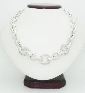 David Yurman Silver 925 & Diamonds Oval Chain Necklace