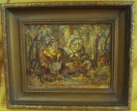 David Burliuk Russian - American Oil Painting On Board