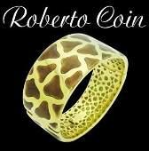 Roberto Coin 18k Yellow Gold Enamel Cheetah Print 025