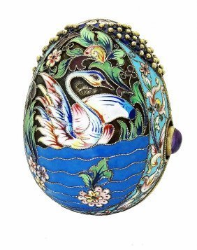 Russian Silver Enamel Egg With Stones & Swan