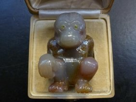 Russian Denissoff Ouralsky Agate Figure Of Monkey
