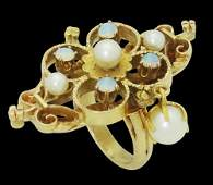 Estate Victorian 14k Yellow Gold Pearl  Opal Ring