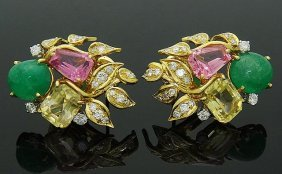 David Webb Platinum & 18k Emerald Tourmaline Earrings