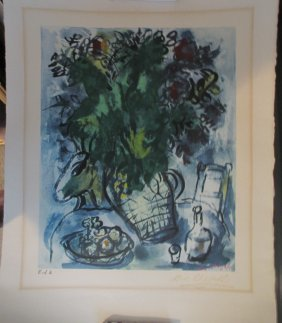 Marc Chagall Pochoir Lithograph Bouquet Of Flowers