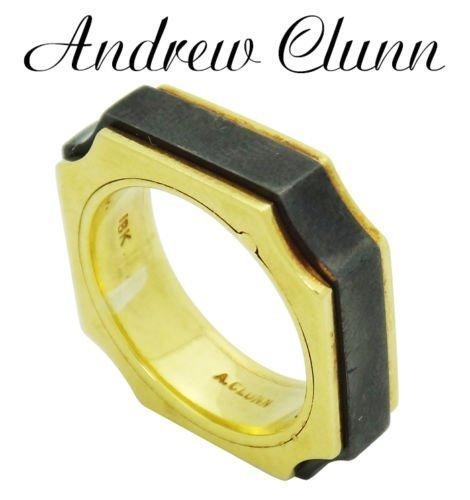 Andrew Clunn 18k Y Gold Hematite Symmetrical Ring