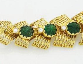 Giulio Veronesi 18k Yellow Gold Carved Jade & Diamond