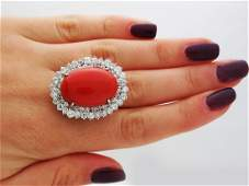 14K Yellow and White Gold round cut Diamonds Coral Ring