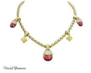 David Yurman 18k Yellow Gold Diamond & Pink Tourmaline