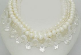 Sazingg 18k Yellow Gold Pearl & Moon Quartz 7 Strand