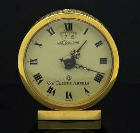 Van Cleef & Arpels Le Coultre 18k Gold 8 Day Clock