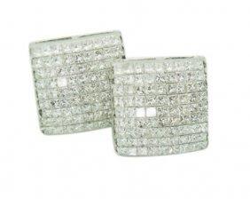 14k 3.50 Carats Vs Si Fg Princess Diamond Sq Earrings