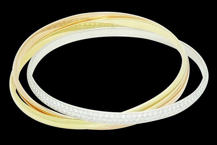 Trinity De Cartier Gold Diamond Bangle Bracelet Size 20