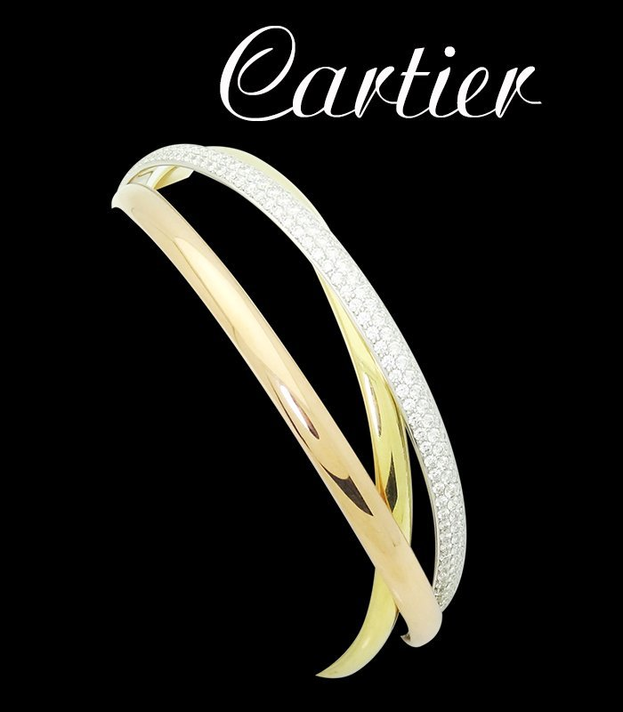 Trinity De Cartier Gold Diamond Bangle Bracelet Size 20 - 4