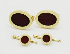 Tiffany & Co. 18k Red Vinous Enamel Set Of Cufflinks &