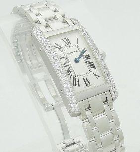 Cartier Lady's Gold Tank Americaine Diamond Quartz