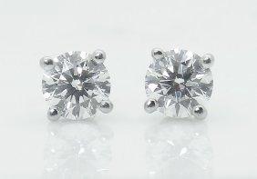 Tiffany & Co Pt 950 Round Brilliant Diamond Stud