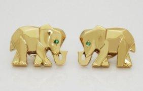 Rare Cartier Emerald & 18k Yellow Gold Elephant Stud