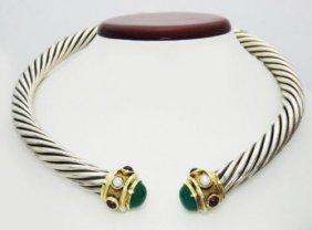 David Yurman Garnet Pearl Chrysopal Silver Gold Choker