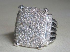 David Yurman Silver Wheaton 20x16 Pave Diamond Ring