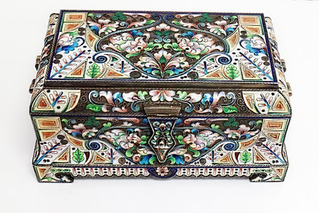 LARGE RUSSIAN SILVER ENAMEL BOX