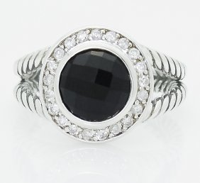 David Yurman 925 Sterling Silver 8mm Black Onyx &