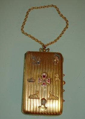 Antique Russian Silver Enamel Diamond Compact