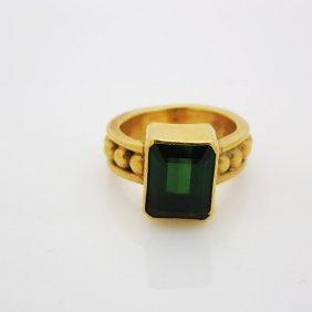 Designer Signed 22k Yellow Gold Old Tourmaline Ring