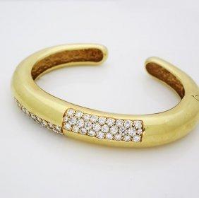 Estate Modernist 18k Gold 4ct Vs/e-f Diamond Bracelet